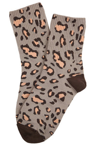 Charlotte Cheetah Cotton Socks Beige