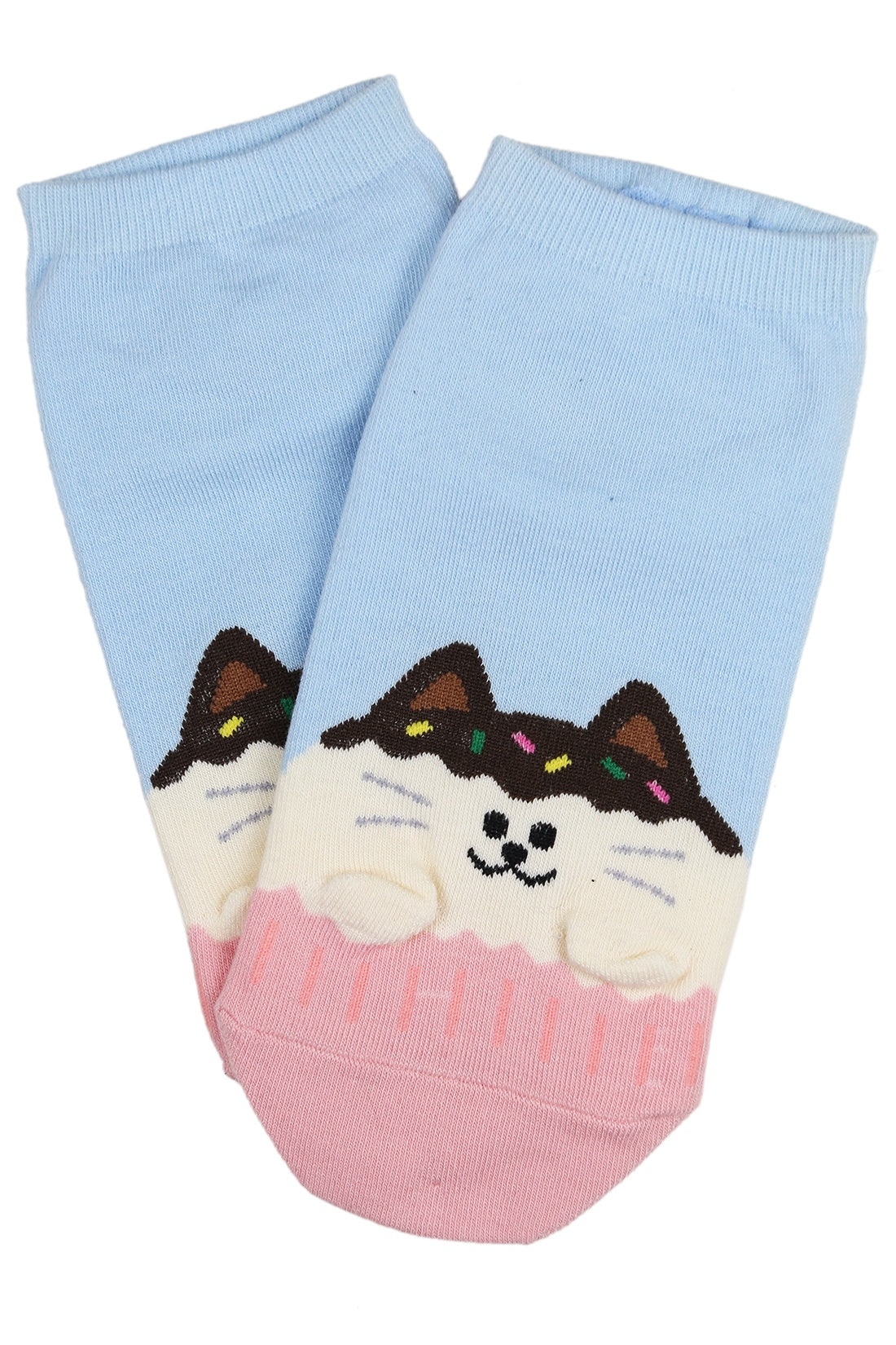 Cupcake the Cat Cotton Ankle Socks Blue