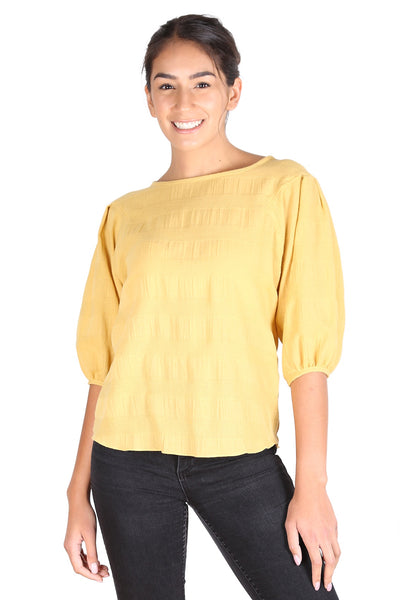 Cromwell Textured Blouse Yellow
