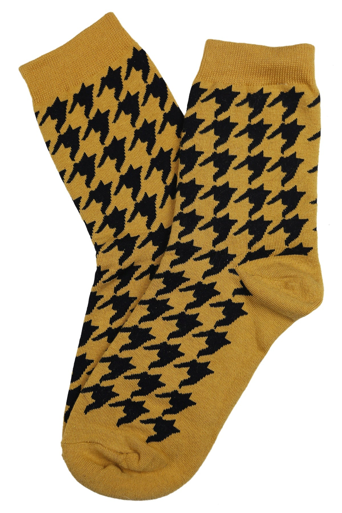 Hilary Houndstooth Cotton Socks Mustard Yellow