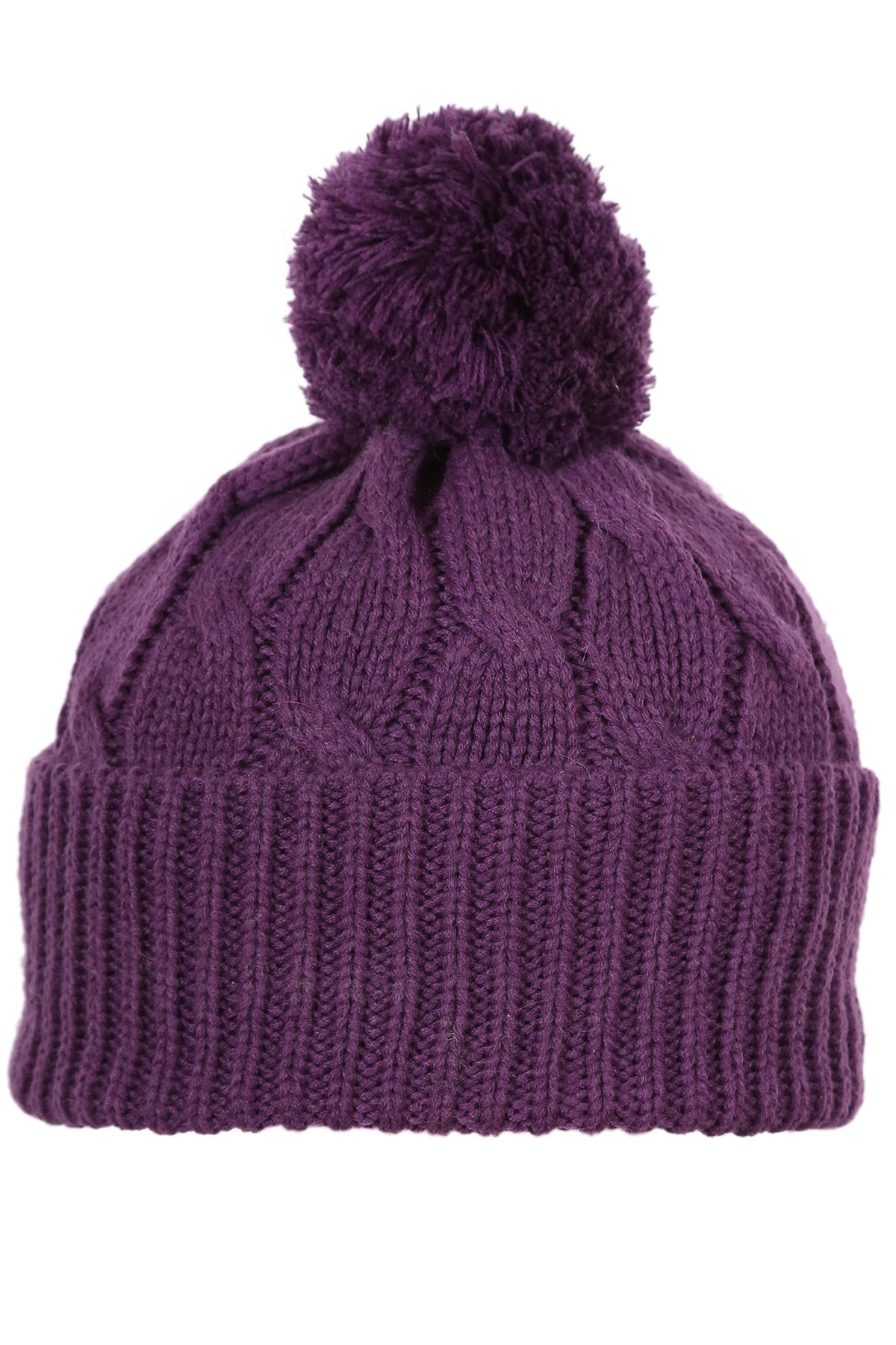 Woolly Beanie Cable Knit Purple