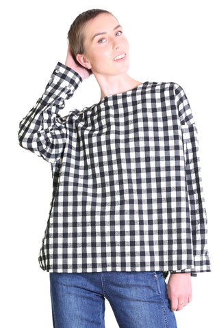 Alegra Check Blouse Black