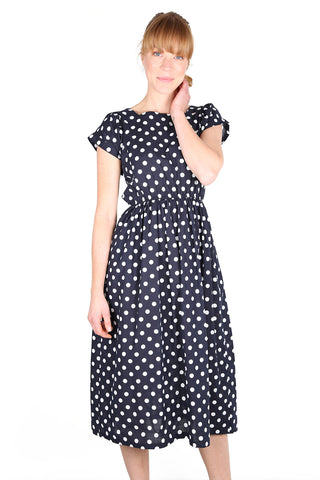 Audrey Spot Dress Navy
