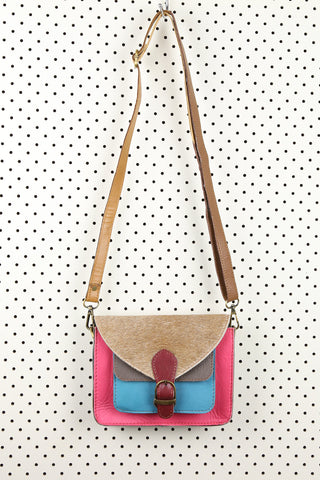 Saskia Satchel Bag Pink and Blue