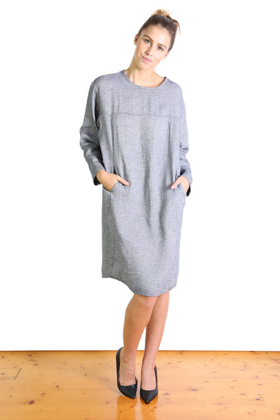 Bacetta Cotton Shift Dress Chambray Grey