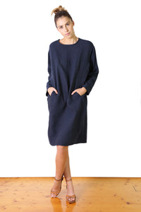 Bacetta Cotton Shift Dress Navy