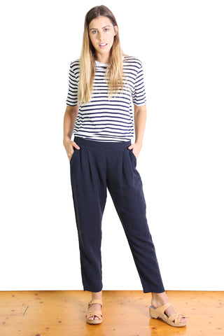 Bacetta Cotton Pants Navy