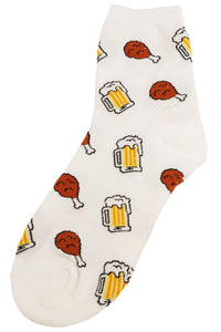 Chicken and Beer Cotton Socks Ecru