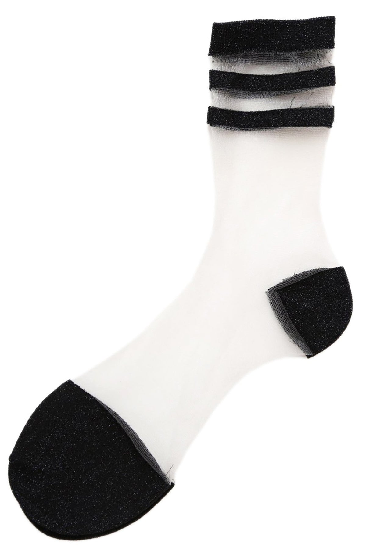 Sheer Glitter Socks Black