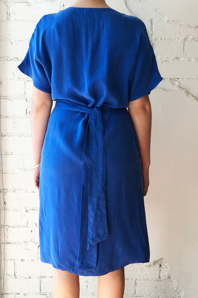 Sage Silk Dress Blue