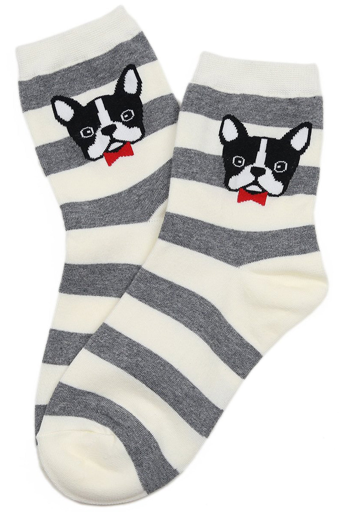 Bow Tie Pup Cotton Socks Grey