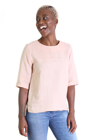 The Classic Flax Linen Top Luscious Baby Pink