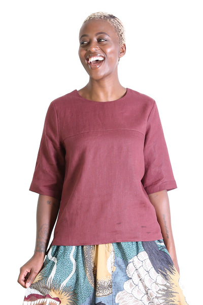 The Classic Flax Linen Top Red Wine