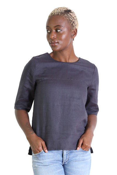 The Classic Flax Linen Top Charcoal Black