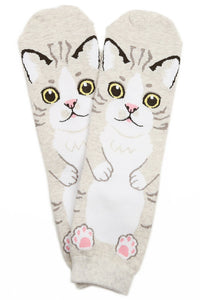 Flat Cat Cotton Ankle Socks Cream