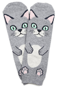 Flat Cat Cotton Ankle Socks Grey