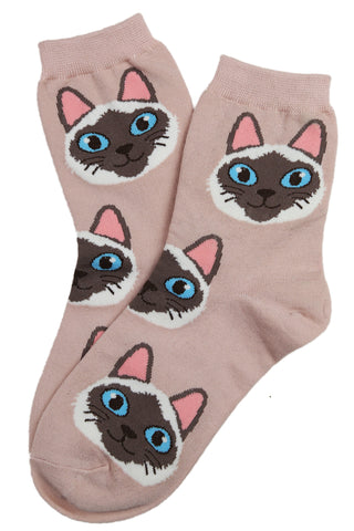 Cheeky Alan Cat Cotton Socks Pink