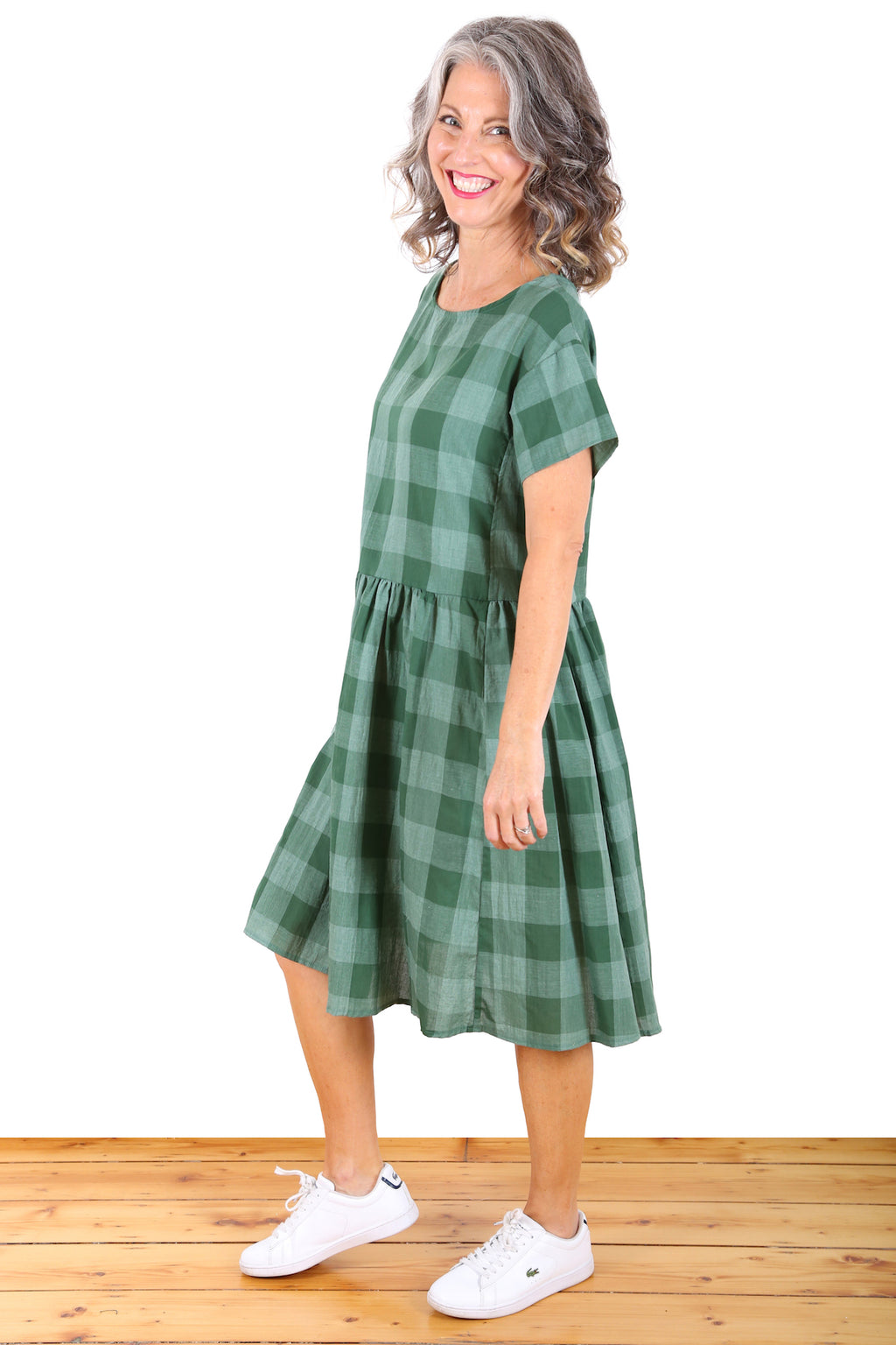 Check It Out Cotton Drop Waist Dress Green