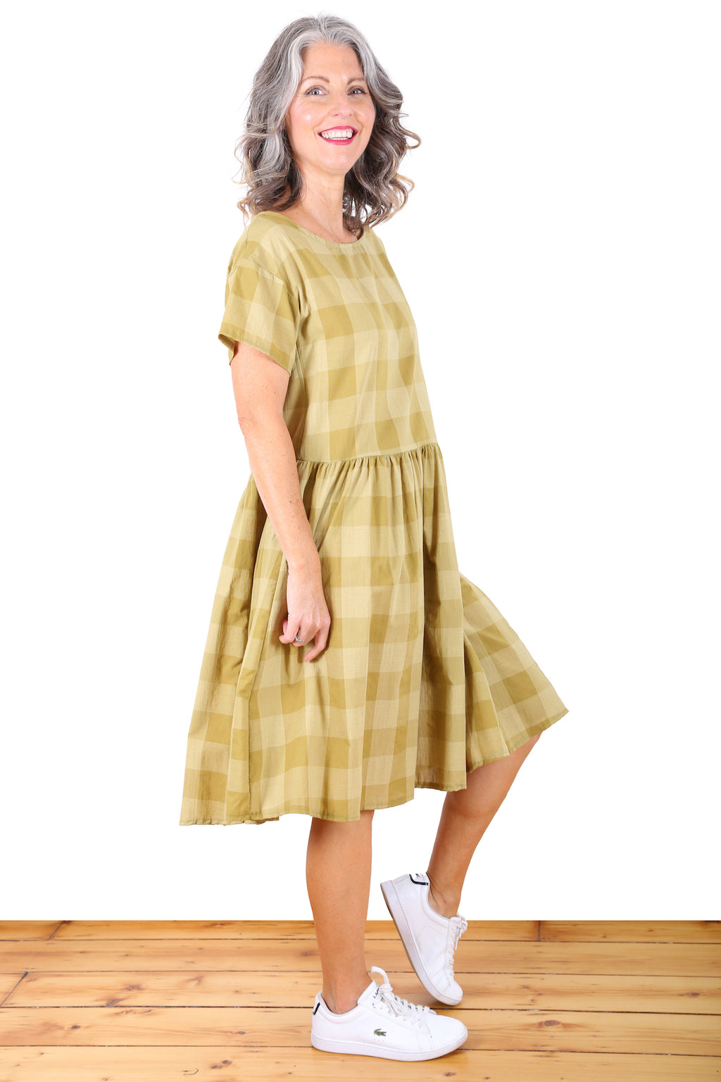 Check It Out Cotton Drop Waist Dress Yellow
