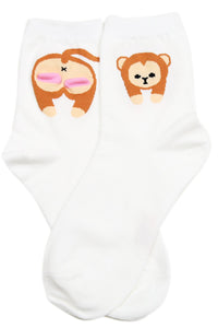 Cheeky Monkey Cotton Socks White