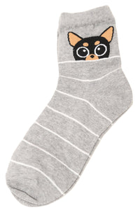 Glimpsing Chihuahua Dog Stripe Cotton Socks Grey