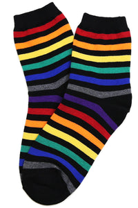 Rainbow Mid Stripe Cotton Socks Black and Grey