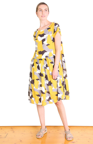 Cutting Edge Seer Dropwaist Dress Mustard Yellow