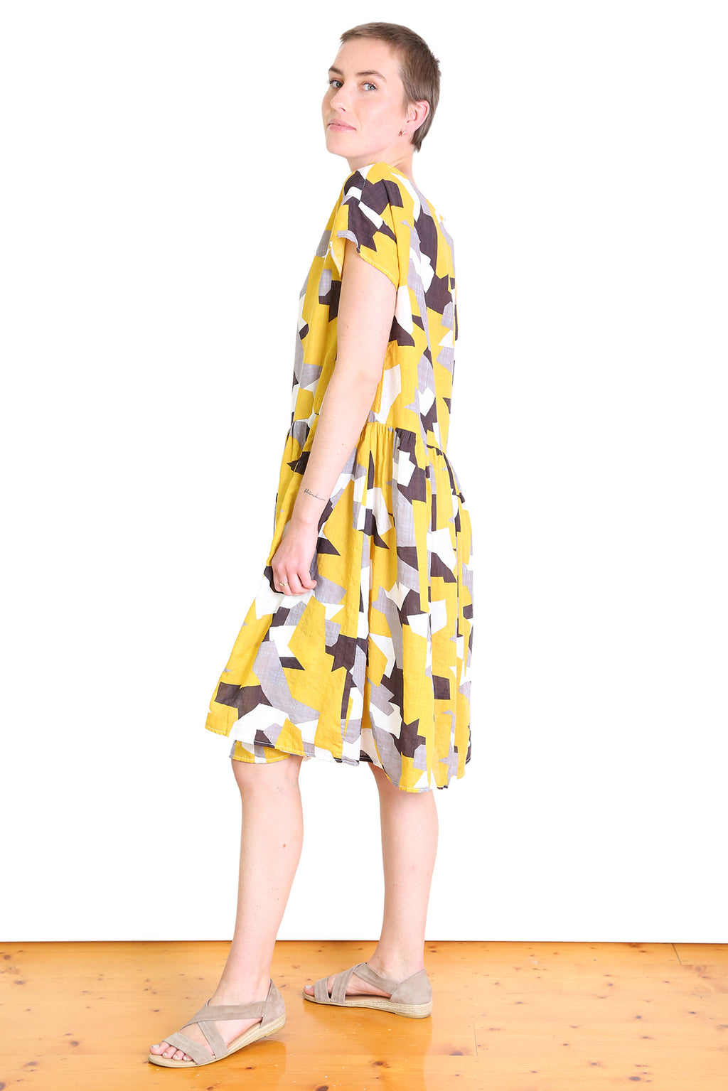 Cutting Edge Seer Drop Waist Dress Mustard Yellow