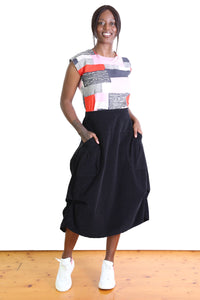 Downtown Cord Milwaukee Skirt Jet Black