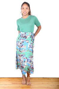 French Riviera Wrap Skirt Green