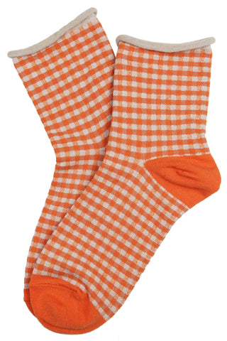 Gilda Gingham Cotton Socks Orange