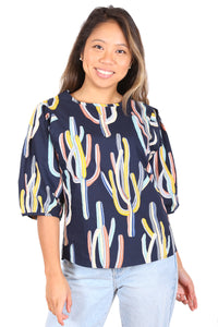Go West Cotton Blouse Navy