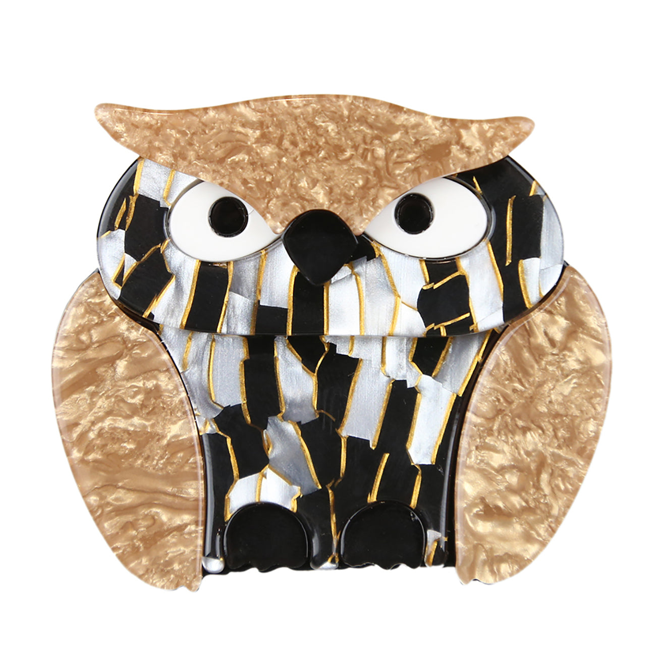 Heidi The Gold Crested Owl Broach