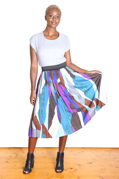 Kiss the Dirt Pleated Skirt BLUE