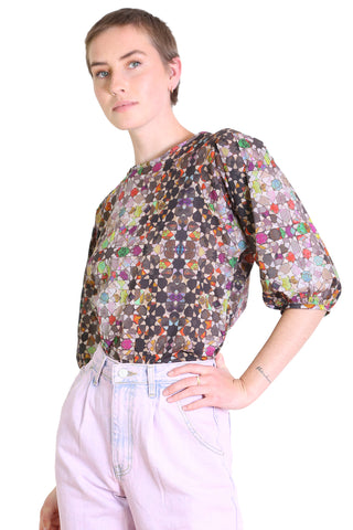 Kaleidoscope Cotton Blouse Grey