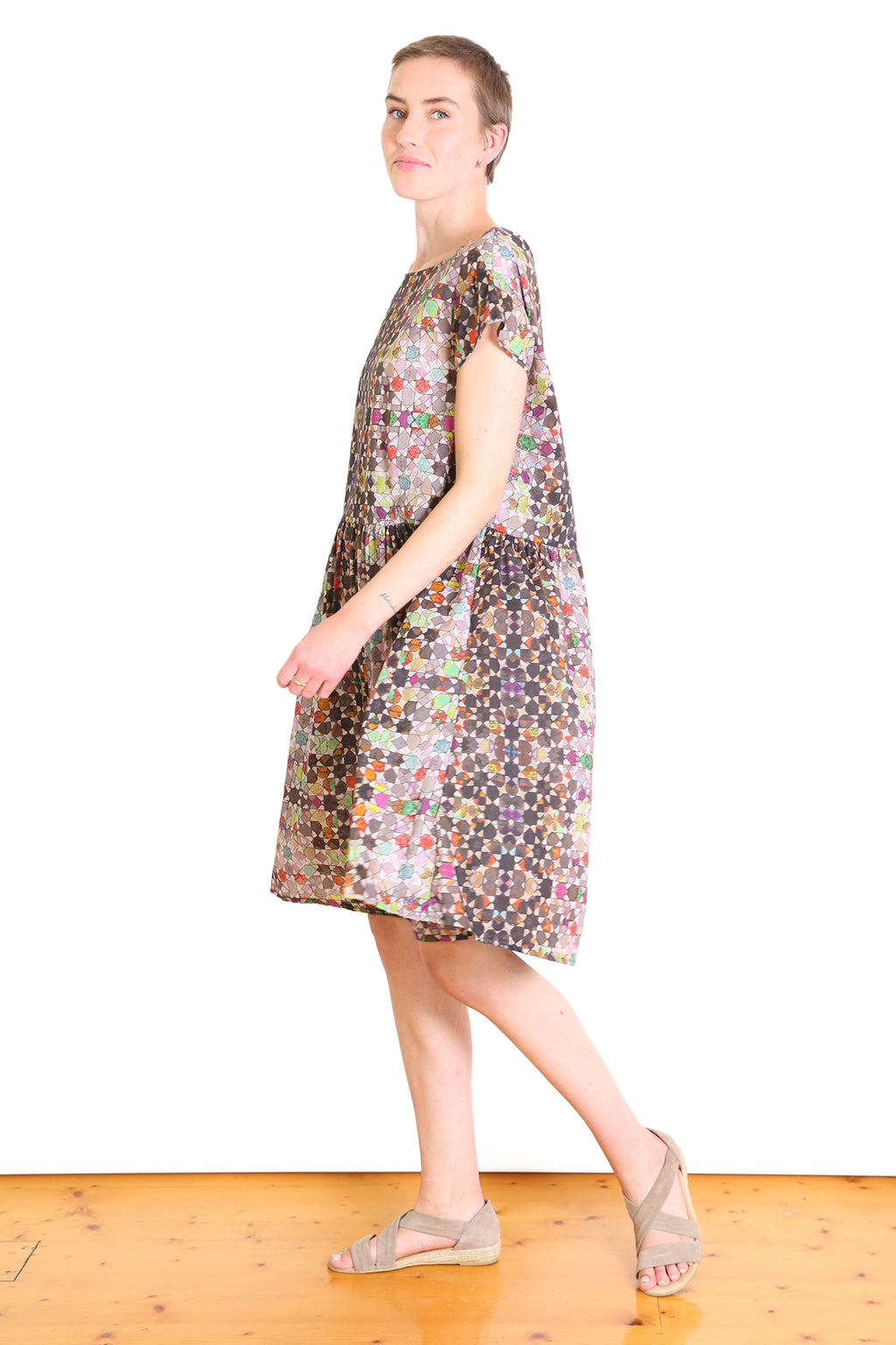 Kaleidoscope Cotton Drop Waist Dress Grey