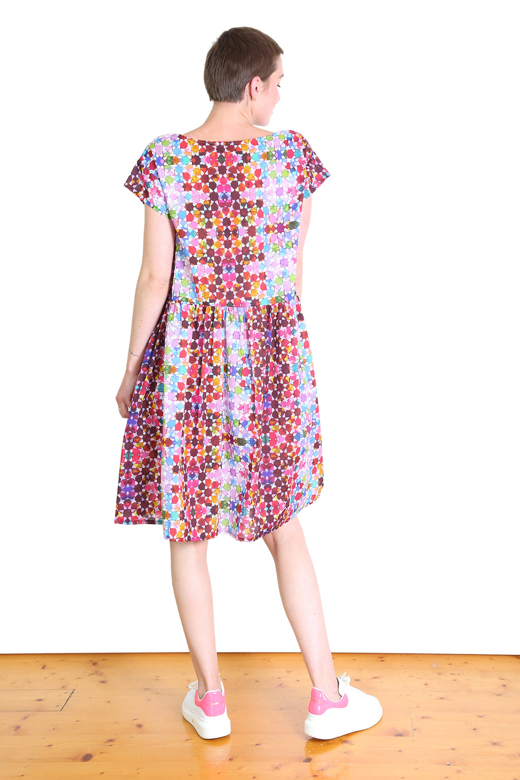 Kaleidoscope Cotton Drop Waist Dress Pink