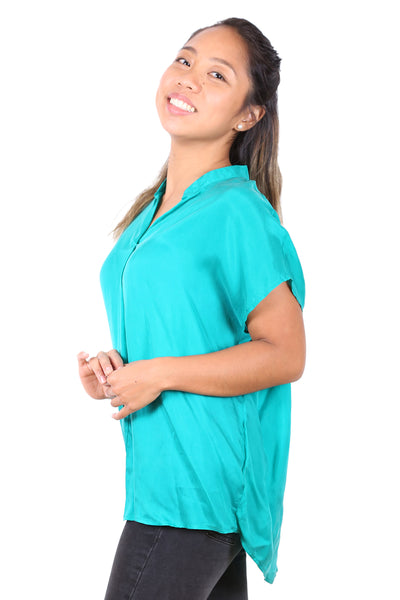 Latina Silk Top Emerald Green