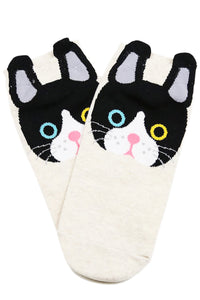 Look Into My Eyes Cat Cotton Socks Beige