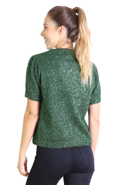 Lucille Ball Glitter Top Metallic Green
