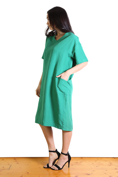 Lucille Linen Shift Dress Green