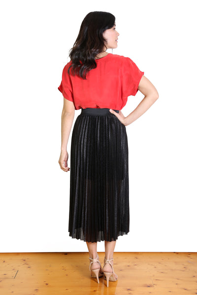 Lucky 7 Pleated Skirt Black
