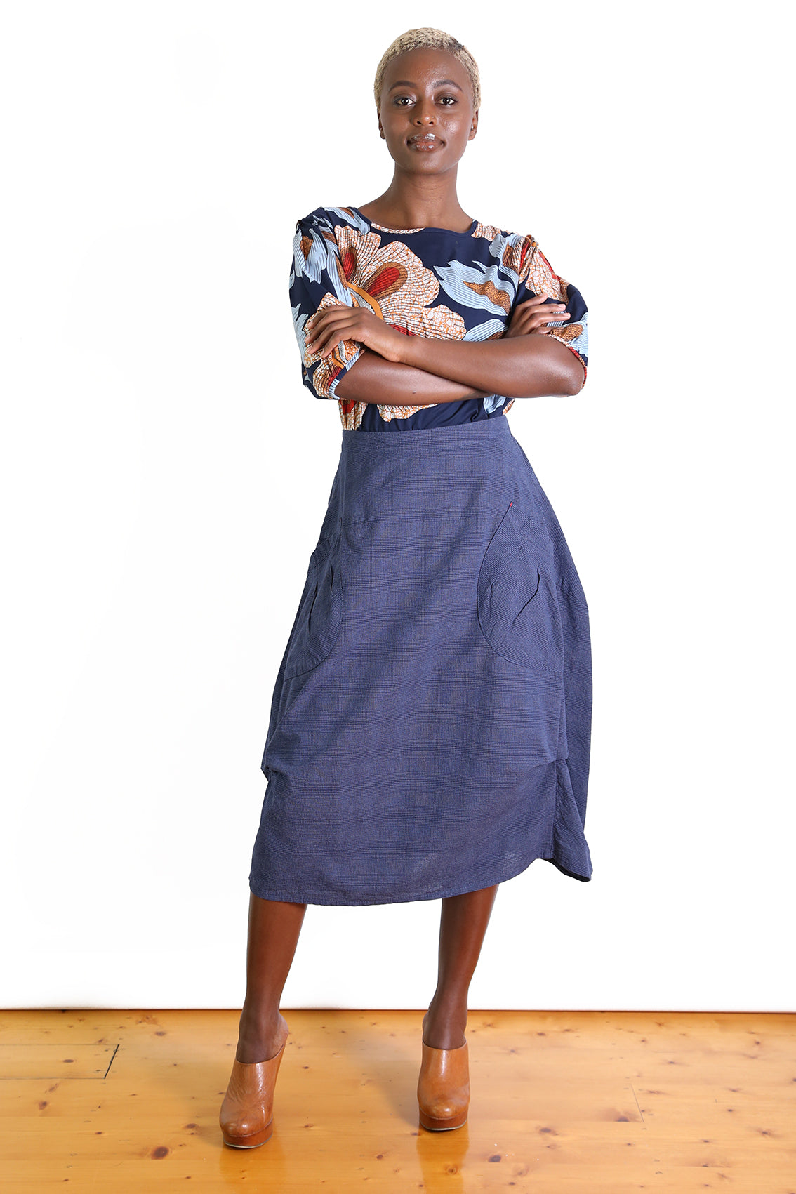 Milwaukee Textured Skirt - Navy