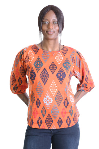 Maya Seer Blouse Orange