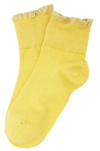 Metallic Frill Cotton Socks Mustard Yellow