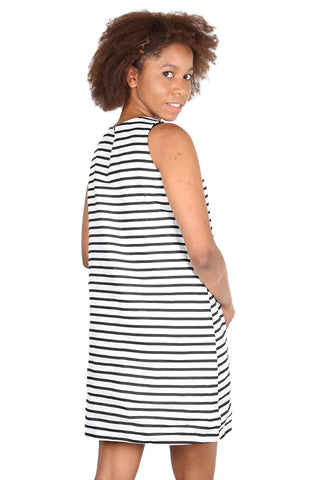 Milano Linen Shift Dress White Stripe