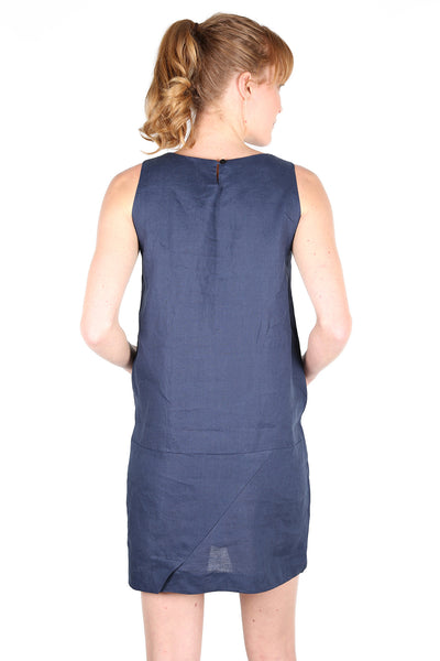 MILANO Linen Shift Dress Block Navy