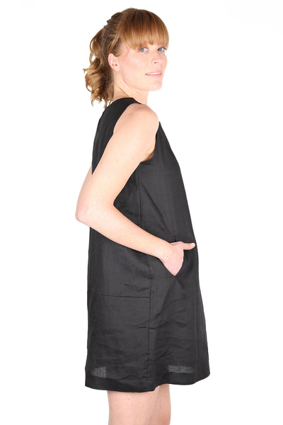 Milano Linen Shift Dress Black