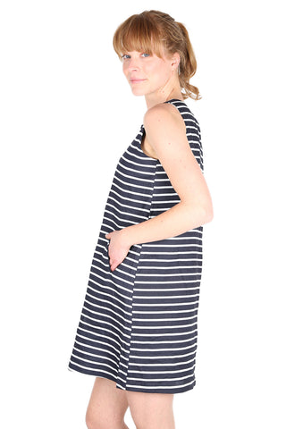 MILANO Shift Dress Navy Stripe