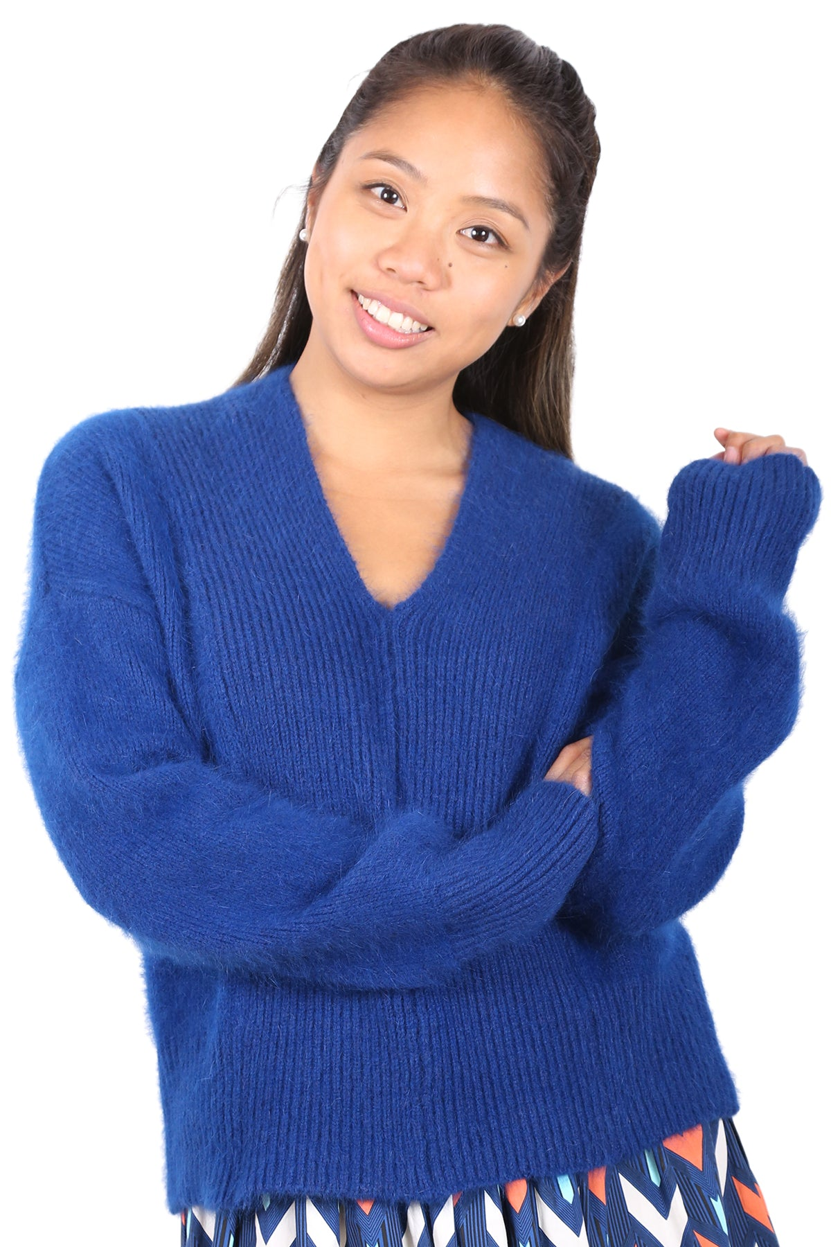 Monsoon Angora Knitted Sweater Royal Blue